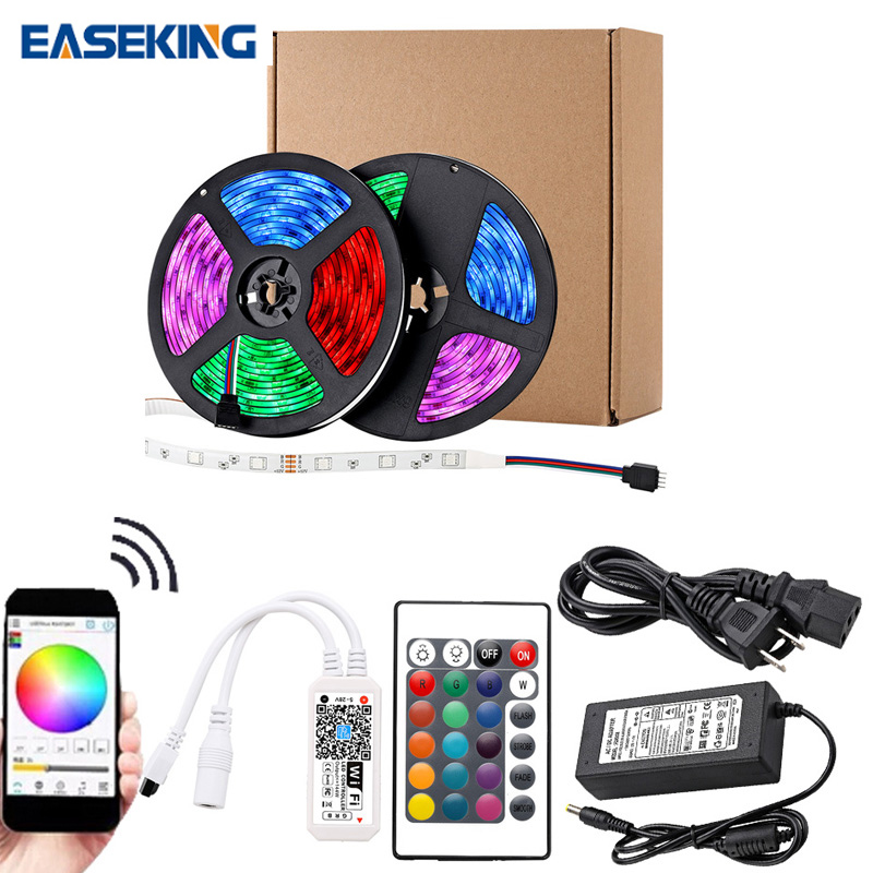 32.8Ft (10M) Smart WIFI RGB LED Light SMD 2835 RGB Waterproof Flexible 12V Power Supply Color Changing LED Strip Tape Full Set (7)