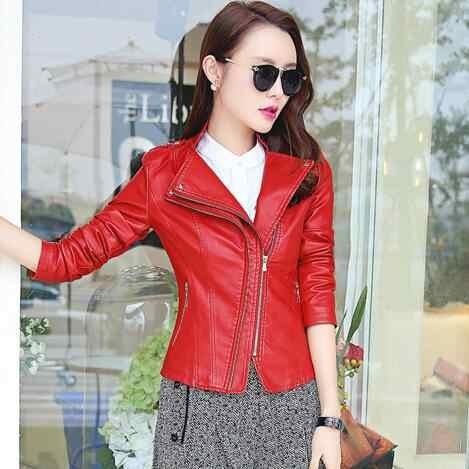 2019 Клубная Весенняя женская кожаная куртка черный плюс размер сексуальный дизайн женская куртка из искусственной кожи пальто розовые красные мотоциклетные куртки 3XL WF124