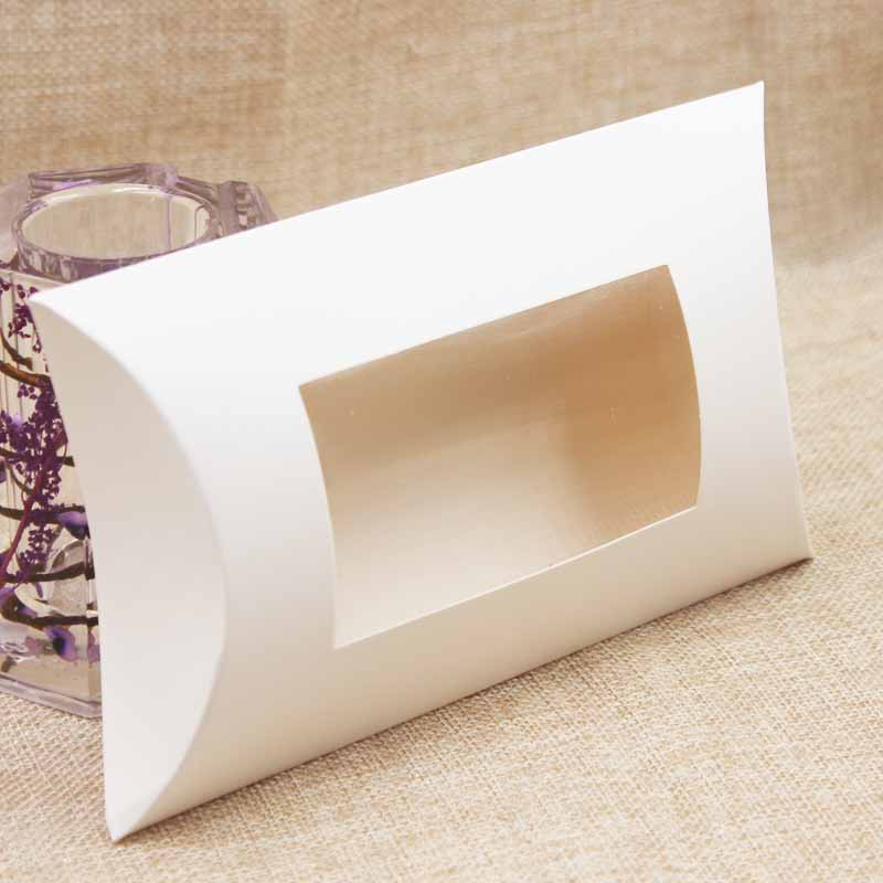 10pc 16*7*2.4cm brown/white/black cardboard pillow window box with clear pvc for proucts/gifts/favors/display packing show 16