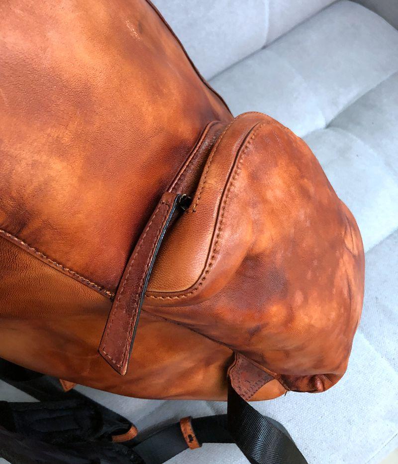 Ανδρικά σακίδια μεγάλης χωρητικότητας vintage δερμάτινη τσάντα ταξιδιού ρετρό βαμμένο old bone γνήσιο δέρμα msow