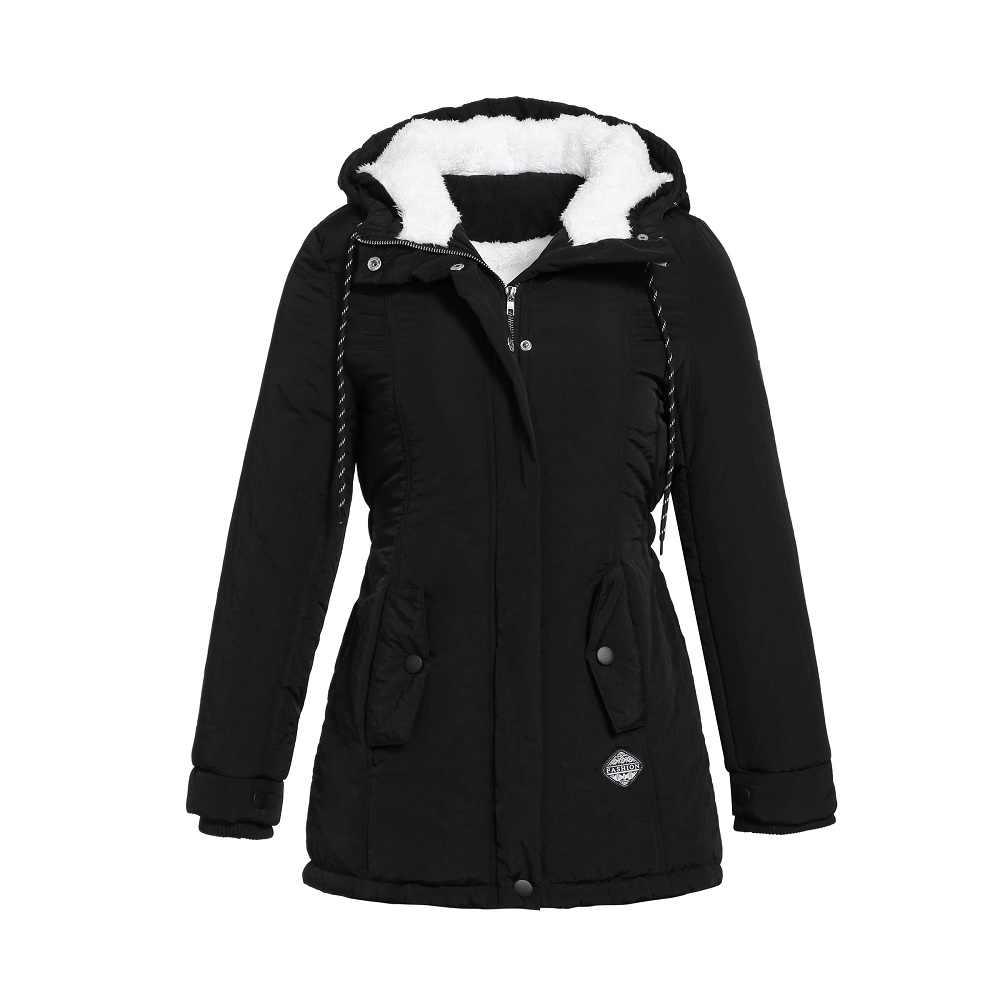 パーカー女性冬ファッション弾性ウエストジッパー付き巾着オーバーコート秋服