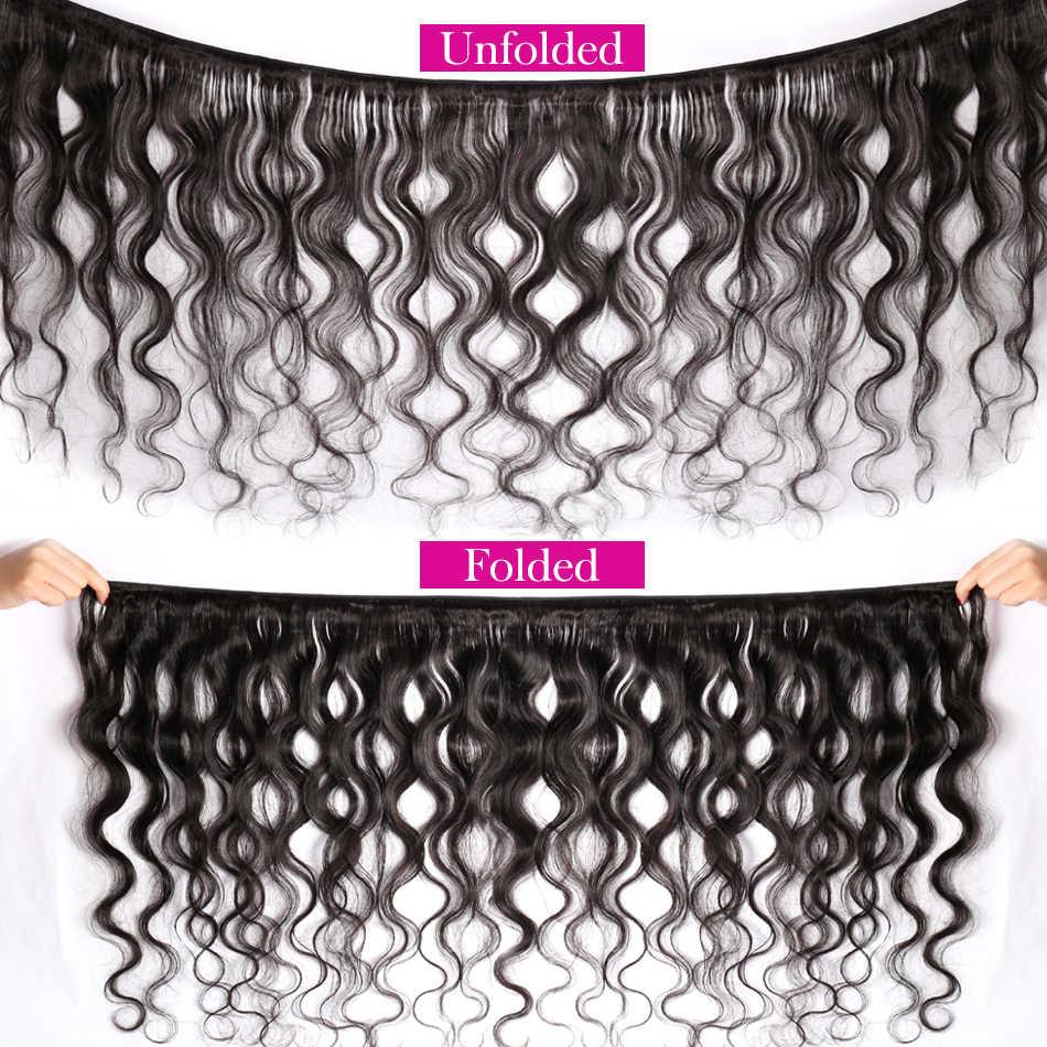 Onda del cuerpo malayo con el cierre 3 paquetes Mi Lisa pelo tejido paquete Remy parte libre encaje 4 piezas cabello humano paquetes con cierre
