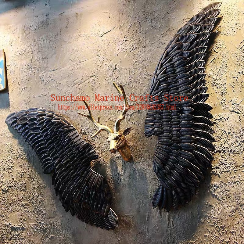 Retro Industrial Wind Decoration Wall Hanging Iron Angel Wing Wall Decoration Bar Coffee Party Photo Supply Murals Iron Wings