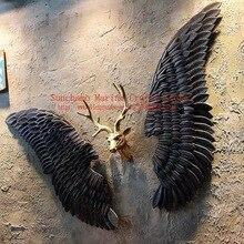 Decoración de viento Industrial Retro, colgante de pared, ala de Ángel de hierro, decoración de pared, Bar, fiesta de café, suministro de fotos, murales, alas de hierro