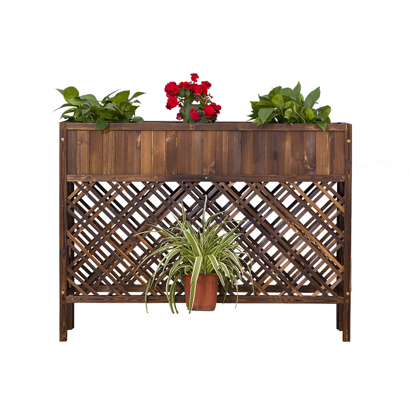 Frame Flower Groove Restaurant A Living Room Indoor Carbonization Wood Shavings Box Outdoors Solid Wood Grid Fence Enclosure