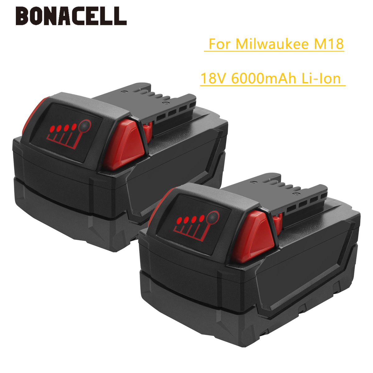 Bonacell M18 18V 6000mAh Bateria de Substituição Li-Ion para Milwaukee XC 48-11-1815 M18B2 M18B4 M18BX l30