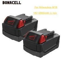 Bonacell 18V 6000mAh M18 XC Li-Ion Replacement Battery for Milwaukee 48-11-1815 M18B2 M18B4 M18BX L30