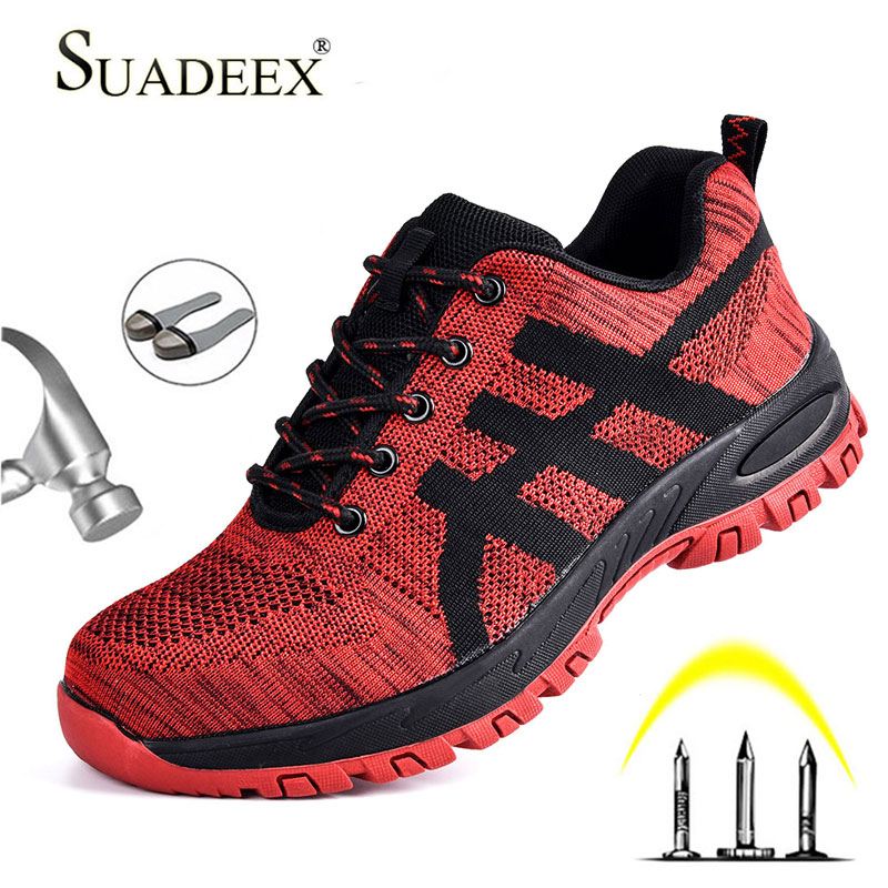 SUADEEX Work Shoes Men Safety Shoes Unisex Air Mesh Work Boots Men Sneakers Anti-smashing Steel Toe Footwear Safety Boots Male
