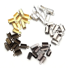 400pcs/lot Cord End Caps String Leather Clip Tip Fold Crimp Bead Connectors Cove Clasps Foldover for Jewelry Making DIY Supplies 200pcs lot cord end tip fold crimp beads cove clasps cord end caps string ribbon leather clip foldover for necklace connectors