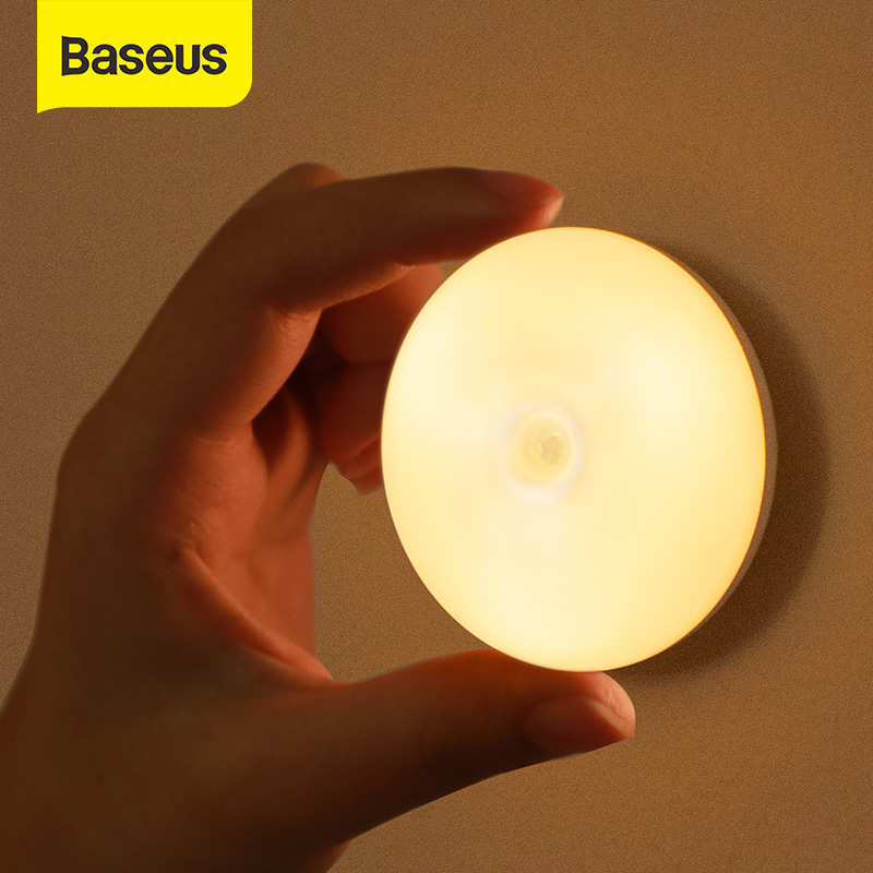 Baseus LED Night Light PIR Intelligent Motion Sensor Nightlight LED Body Motion Rechargeable Night Lamp For Bedroom Stairs