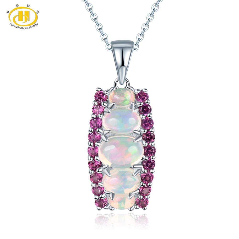 Hutang 1.28ct Natural Opal Pendant Gemstone Rhodolite Garnet Solid 925 Sterling Silver Necklace Fine Elegant Jewelry New