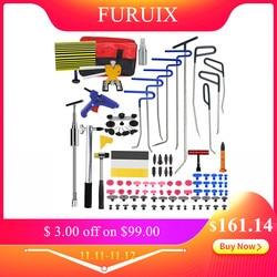 FURUIX PDR Gereedschap Haken Lente Stalen Push Staven Uitdeuken Car Dent Repair Auto Body Repair Kit Verveloos Dent Repair tool Kit