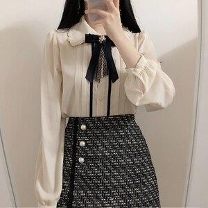 Image 2 - 2020 wiosna kobiet słodkie topy styl Preppy rocznika Japaneses projekt koreański przycisk eleganckie formalne koszule bluzki różowy biały 12020