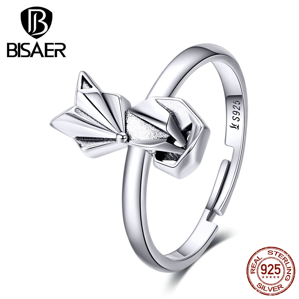 Fox Rings BISAER 925 Sterling Silver Animal Fox Women Rings Women Open Size Adjustable Fine Luxury Jewelry ECR560
