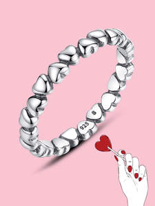 Finger-Ring Jewelry Heart 925-Sterling-Silver Forever Bamoer Real Love Original Gift