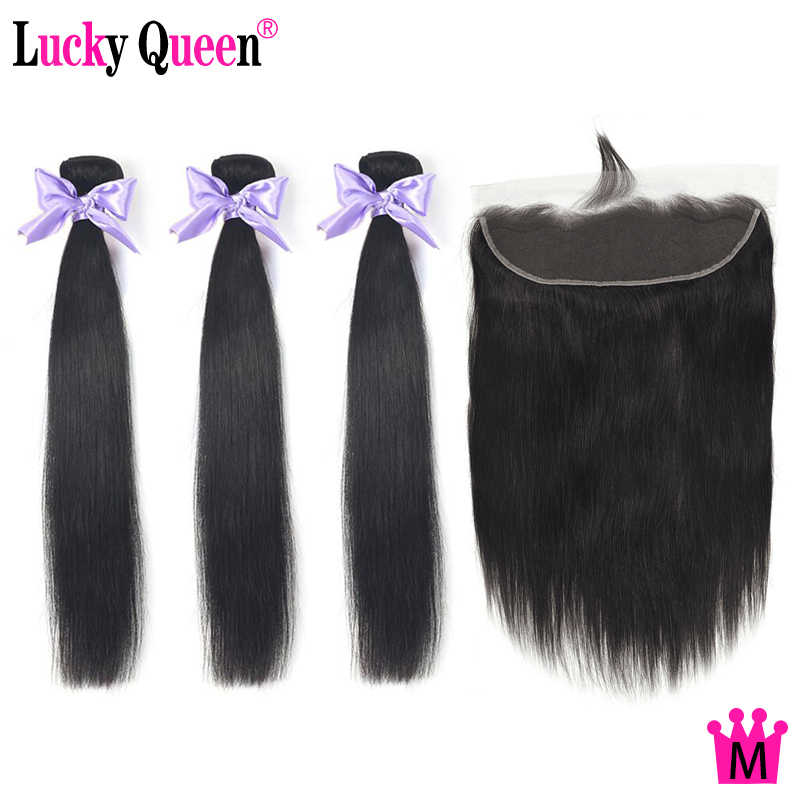 Peruvian Straight Hair Bundles with 13*4 Lace Closure with Baby Hair 100% Human Hair Lucky Queen Medium Ratio Non-Remy Hair