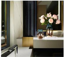 Simple Modern Plating Colorful Glass Vase Decoration Home Living room TV Cabinet Figurines Crafts Hotel Office Desktop Ornaments