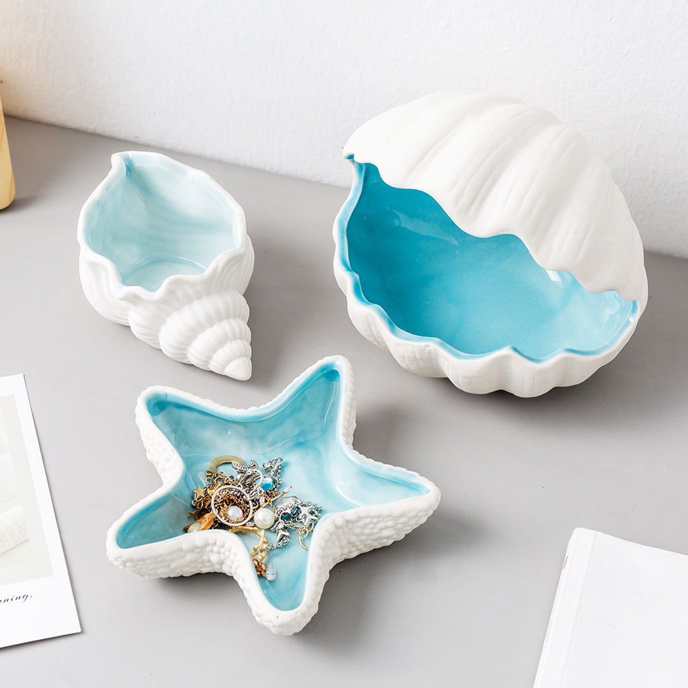 Creative Shell Ceramic Storage Debris Desktop Storage Accessories Modern Home Decoration Living Room Bedroom Decoration Gifts