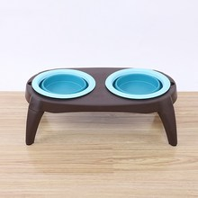 Folding Double Dog Bowl with Non-Skid Silicone Mat Pet Feeder Puppy Cat Food Container Bowl Dogs Cat Feeding Bowl(China)