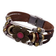 creative flower vintage leather bracelet Jewellery for women with clasp Beaded wristband punk men