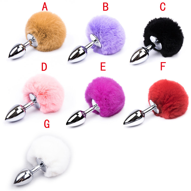 7-Color-Small-Size-Metal-Rabbit-Tail-Anal-Plug-Stainless-Steel-Bunny-Tail-Butt-Plug-Anal