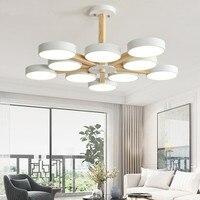 220V LEVOU Lustre Com Abajur Para Sala de estar Moderna Lustres de Teto de Metal De Madeira Quartos Lustres Lâmpadas Penduradas