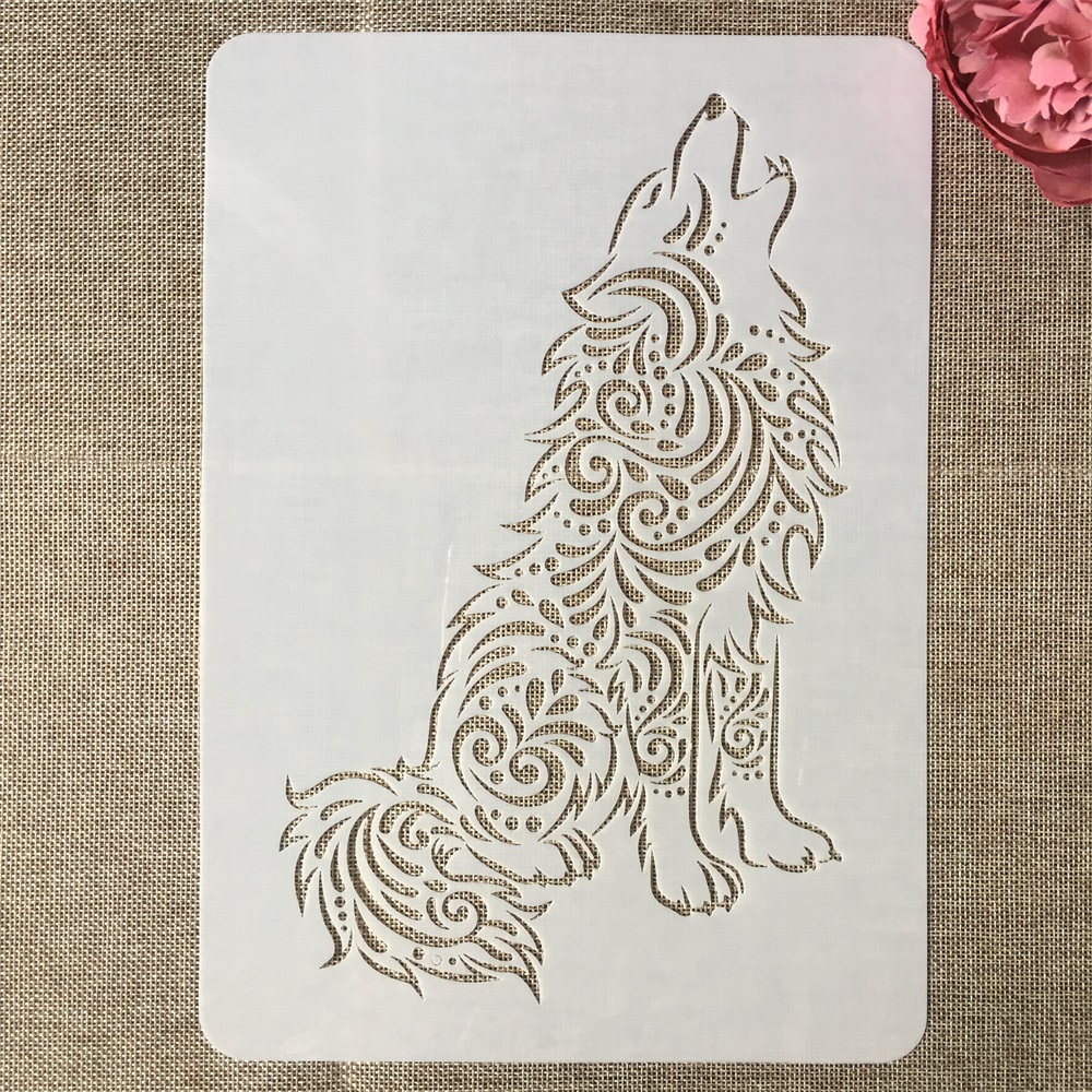 A4 29cm Wolf Cry DIY Layering Stencils Painting Scrapbook Coloring Embossing Album Decorative Template