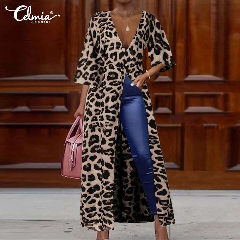 2019 Fashion Leopard Print Dress Women's Long Top Celmia Ladies V-neck 3/4 Sleeve Casual Loose Pleated High Split Vestidos S-5XL