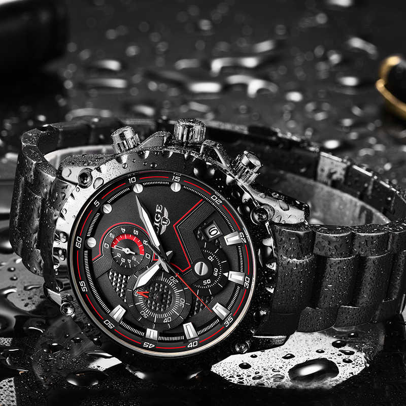 LIGE Nuovi Uomini di Orologi di Marca di Lusso Top di Sport di Modo Impermeabile Cronografo Maschio In Acciaio Inox Orologio Da Polso Da Uomo Relogio Masculino