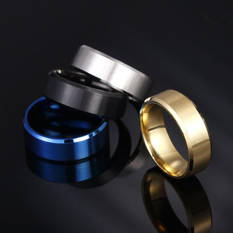 Популярные Очаровательные 8 мм матовый мужское кольцо из нержавеющей стали Простые Модные ювелирные изделия, черный, голубой, золотой