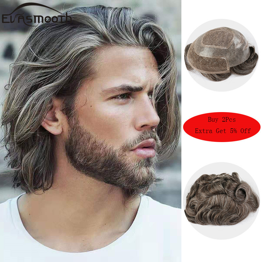 New Style Human Hair Wigs Toupee For Men French Lace With Pu Male Wig Hairpieces Indian Natural Remy Hair 6inch Mens Toupee
