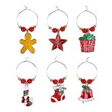 Big deal 6Pcs Christmas Cup Decoration Rings Wine Glass Pendants for Home Table Decoration Party New Year Product