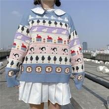 Милые Японские Женские свитера Осенний винтажный плотный пуловер