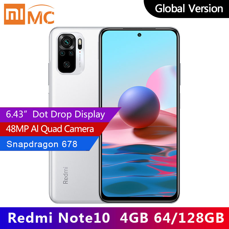 Global Version Xiaomi Redmi Note 10 Smartphone Snapdragon 678 AMOLED Display Face Recognition Adaptive Fast Charge Quad Camera|Cellphones| - AliExpress