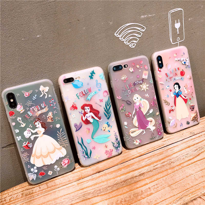 น่ารักการ์ตูน Snow White Cinderella Rapunzel Mermaid Princess Soft TPU สำหรับ iPhone XS MAX XR X 6 6S 7 8 PLUS