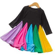 Children Girl Long Sleeve Colorful Matching Rainbow Dress Big Hem Princess Dress Kids Girl Casual Dress цена 2017