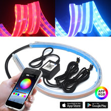 2pcs Car APP LED DRL Strip Daytime Running Light Sequential Runs Scan Daylight Multi Color With Turn Signal Lights For Headlight