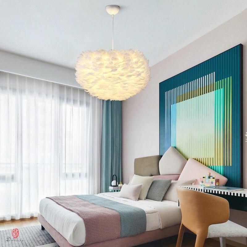 Plume suspendus lumières à la main Plume boule pendentif lampe Europe Style design décoration mode suspension luminaire pour la maison magasin