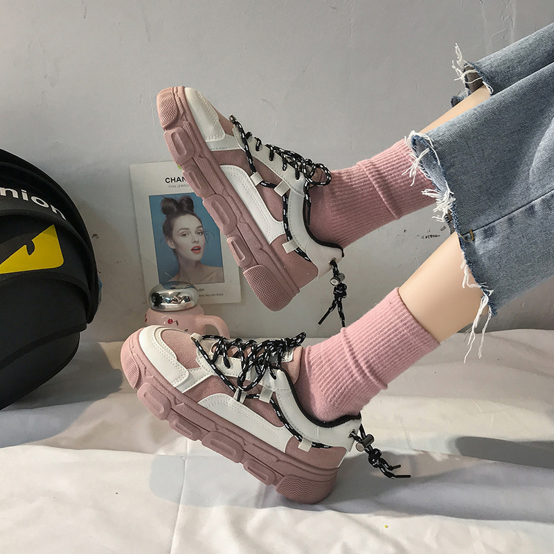 2020 Women Chunky Sneakers Ulzzang Fashion Platform Tenis Female Comfor Casual Shoes Woman Pink White Leather Lace Up Spring