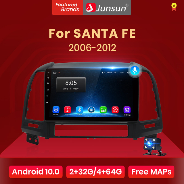 Junsun V1 AI Voice Control Android 10 DSP Car Radio Multimedia  Player For Hyundai Santa Fe 2 2006-2012 Navigation 2 din no dvd