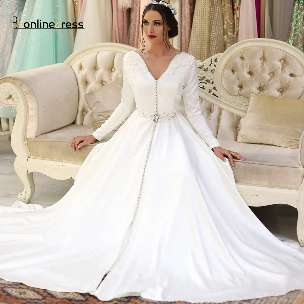 Bbonlinedress Moroccan Kaftan Evening Dresses White Appliques Long Evening Dress Full Sleeve Arabic Muslim Party Dress