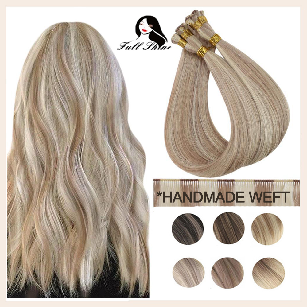 Full Shine Sew In Hair Weft Handmade Bundles 10A Hand Tied Weft 100% Virgin Human Hair Silky Straight Invisible Brazilian