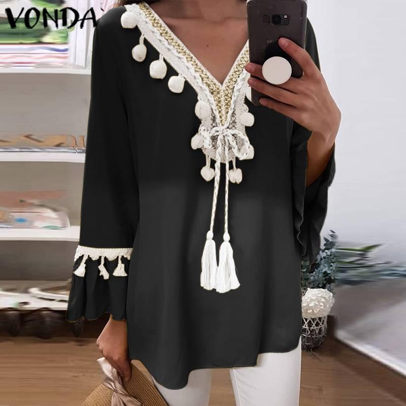 VONDA Tunic Women Blouse 2020 Autumn Plus Size Tops Casual Nine Quarter Flare Sleeve Bohemian Blusas Female Vintage Print Shirts