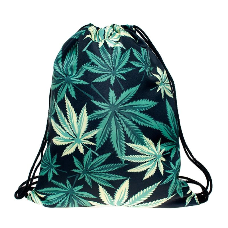 Portable Drawstring Backpack Leaf Print Shopping Bags Travel Hiking Daypack