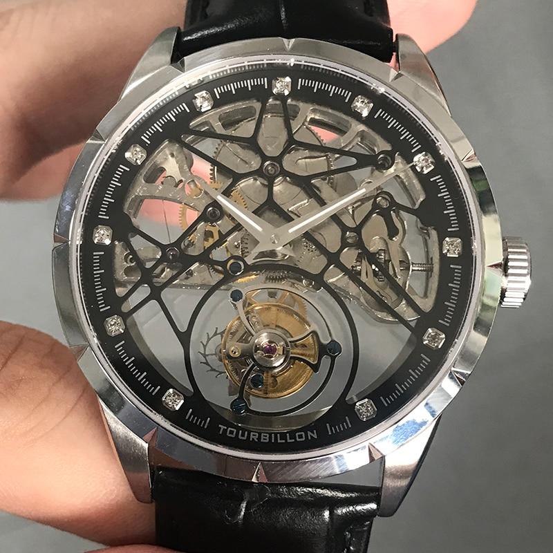 Super New Model GUANQIN Original Tourbillon business men watch top brand luxury Skeleton Sapphire  clock men Relogio Masculino-in Mechanical Watches from Watches