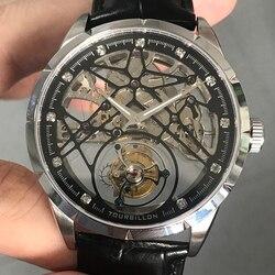 Super New Model GUANQIN Original Tourbillon business men watch top brand luxury Skeleton Sapphire  clock men Relogio Masculino