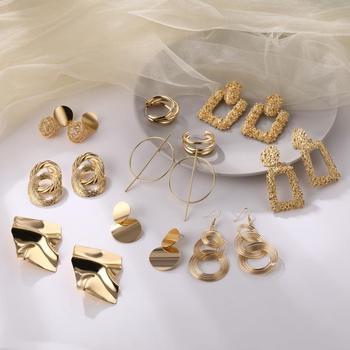 FNIO Fashion Vintage Earrings For Women Big Geometric Statement Gold Metal Drop Earrings 2020 Trendy Earings Jewelry Accessories 2
