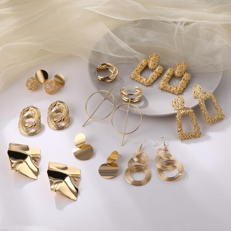 FNIO Fashion Vintage Earrings For Women Big Geometric Statement Gold Metal Drop Earrings 2020 Trendy Earings Jewelry Accessories