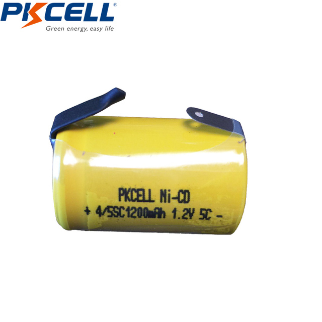 6pcs/lot PKCELL Ni-CD 1200mAh 1.2V 4/5SC Sub C NiCd Rechargeable Battery Flat Top With Tabs