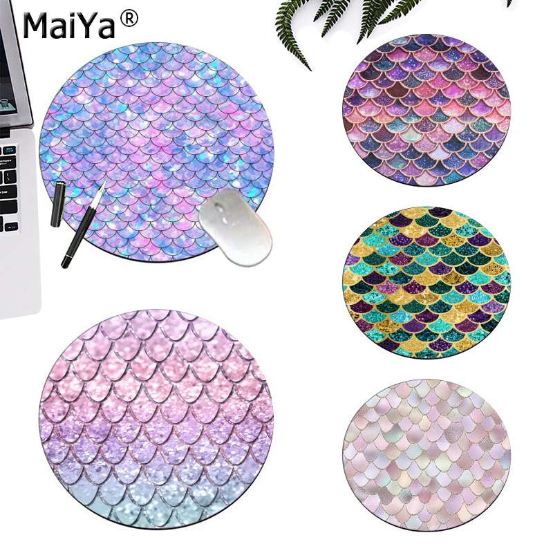 MaiYa Pink And Blue Watercolor Trendy Glitter Mermaid Scales Soft Rubber Gaming Gaming Mousepad Rug For PC Laptop Notebook
